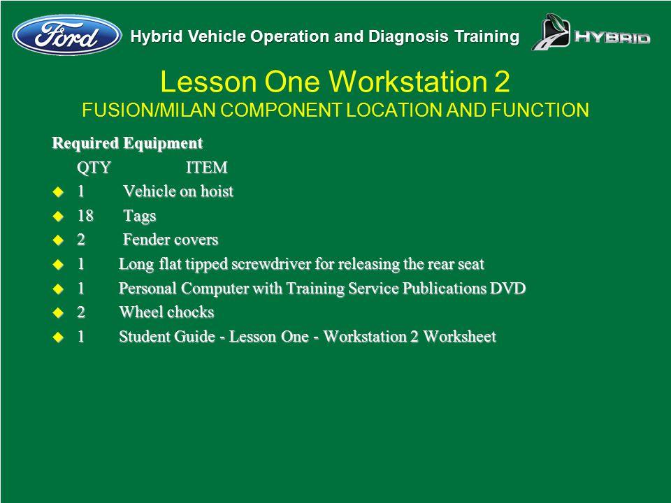 Hybrid Vehicle Operation and Diagnosis Training Required Equipment QTYITEM u 1 Vehicle on hoist u 18 Tags u 2 Fender covers u 1Long flat tipped screwd