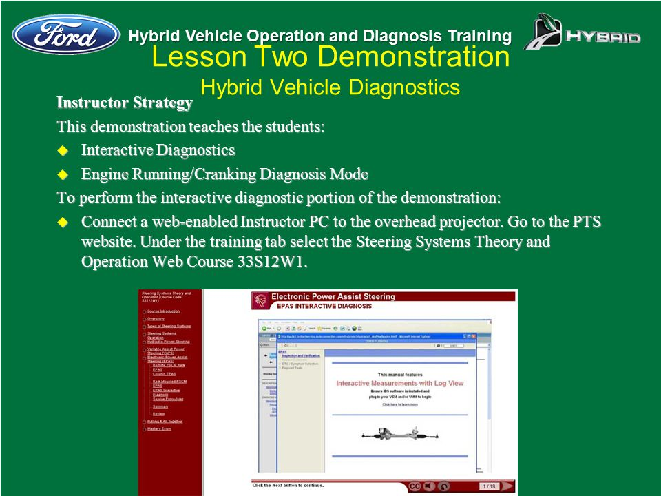 Hybrid Vehicle Operation and Diagnosis Training Lesson Two Demonstration Hybrid Vehicle Diagnostics Instructor Strategy This demonstration teaches the