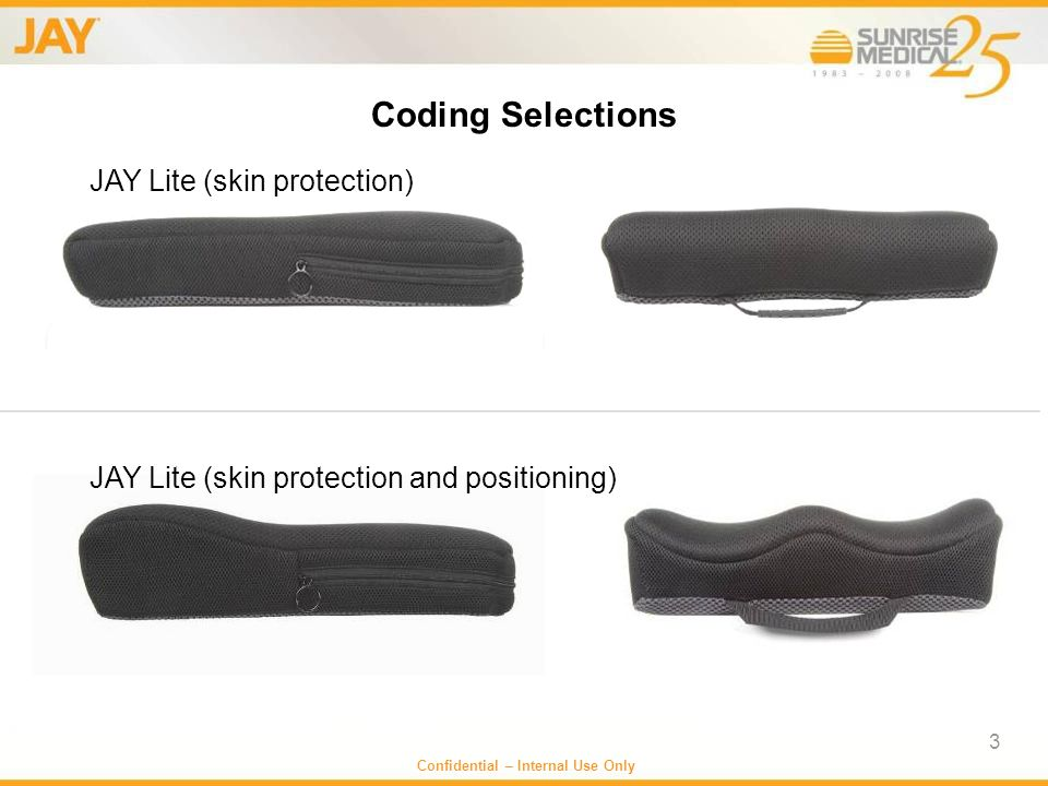 3 Coding Selections JAY Lite (skin protection) JAY Lite (skin protection and positioning)