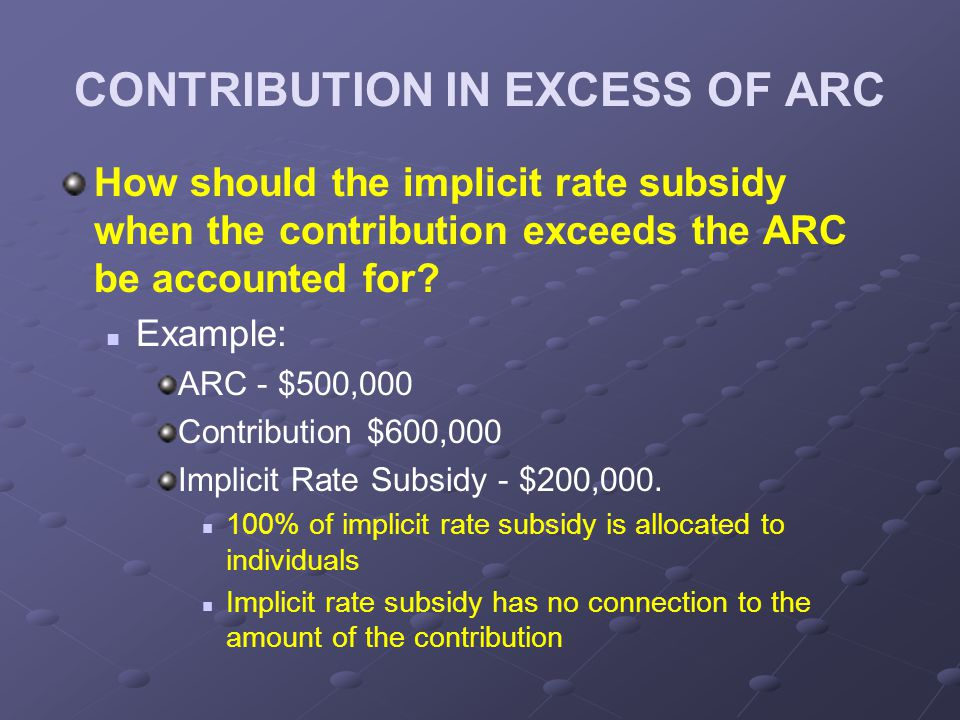 CONTRIBUTION IN EXCESS OF ARC How should the implicit rate subsidy when the contribution exceeds the ARC be accounted for.
