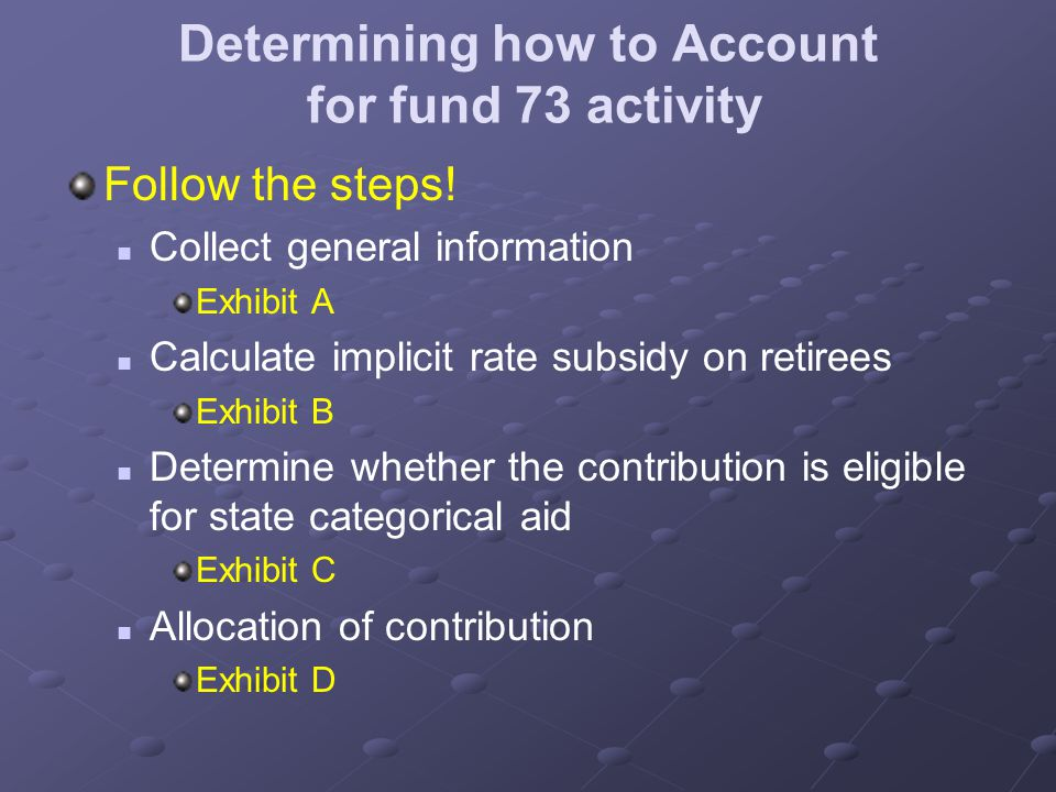 Determining how to Account for fund 73 activity Follow the steps.