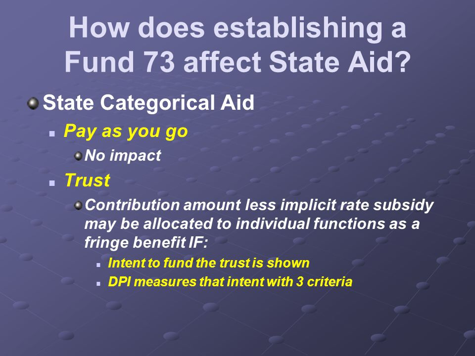 How does establishing a Fund 73 affect State Aid.