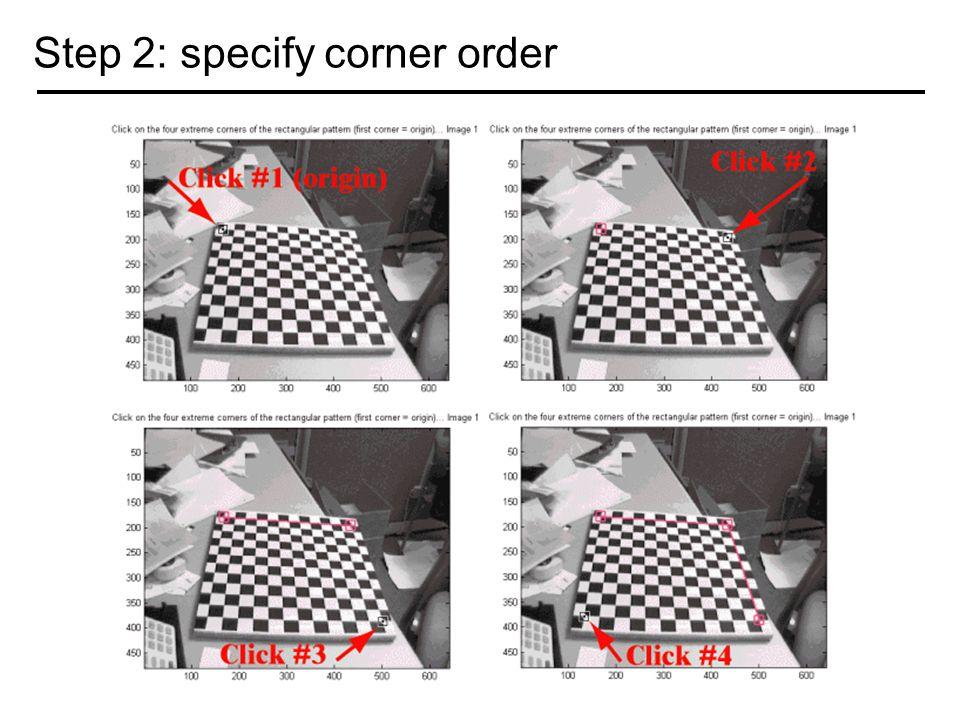 Step 2: specify corner order