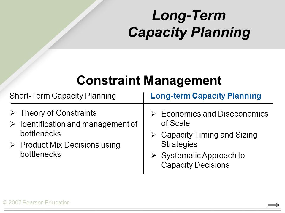 © 2007 Pearson Education Long-Term Capacity Planning Short-Term Capacity Planning  Theory of Constraints  Identification and management of bottlenecks  Product Mix Decisions using bottlenecks Long-term Capacity Planning  Economies and Diseconomies of Scale  Capacity Timing and Sizing Strategies  Systematic Approach to Capacity Decisions Constraint Management