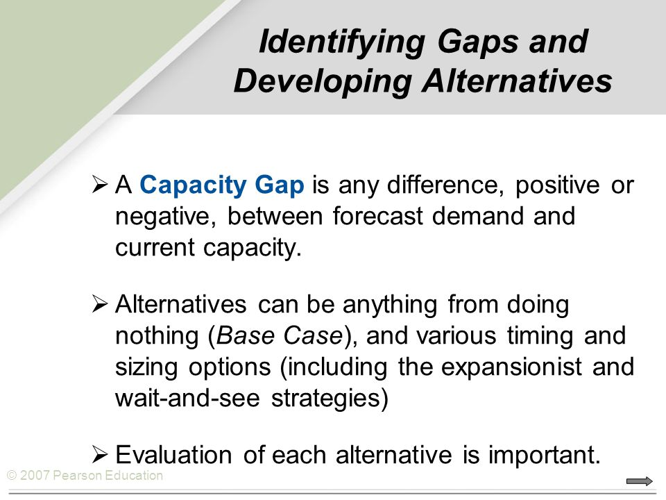 © 2007 Pearson Education Identifying Gaps and Developing Alternatives  A Capacity Gap is any difference, positive or negative, between forecast demand and current capacity.