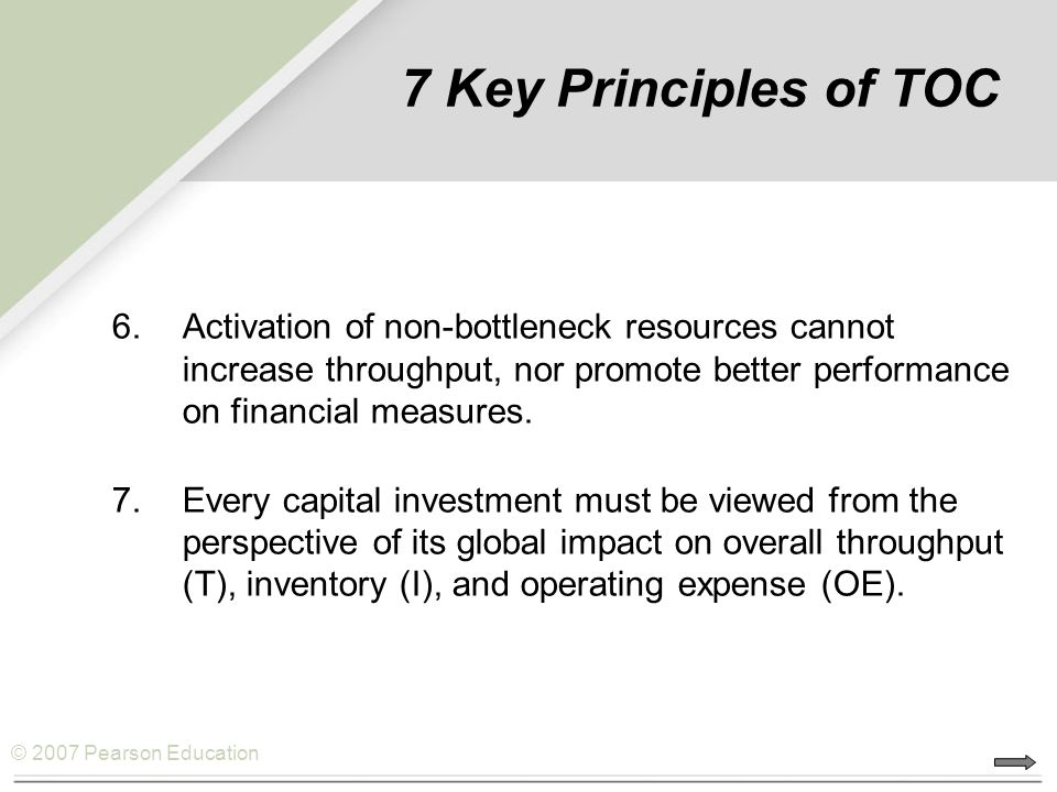© 2007 Pearson Education Application of TOC 1.Identify The System Bottleneck(s).