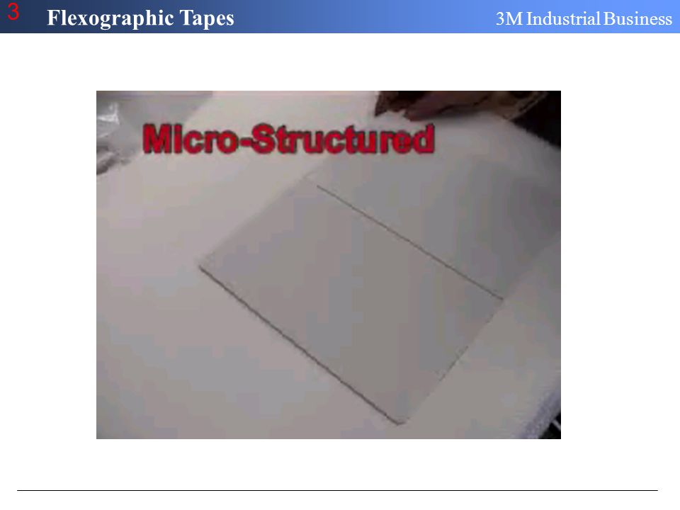 Flexographic Tapes 3M Industrial Business 3 Optimizing On-Press Performance Surface preparation + Intimate contact = Optimal Adhesion Performance – Reduced plate lifting due to plate contamination or inadequate contact with adhesive –Virtually no air bubbles due to over impression on-press –Easy plate removal (no contamination, no solvent penetration)