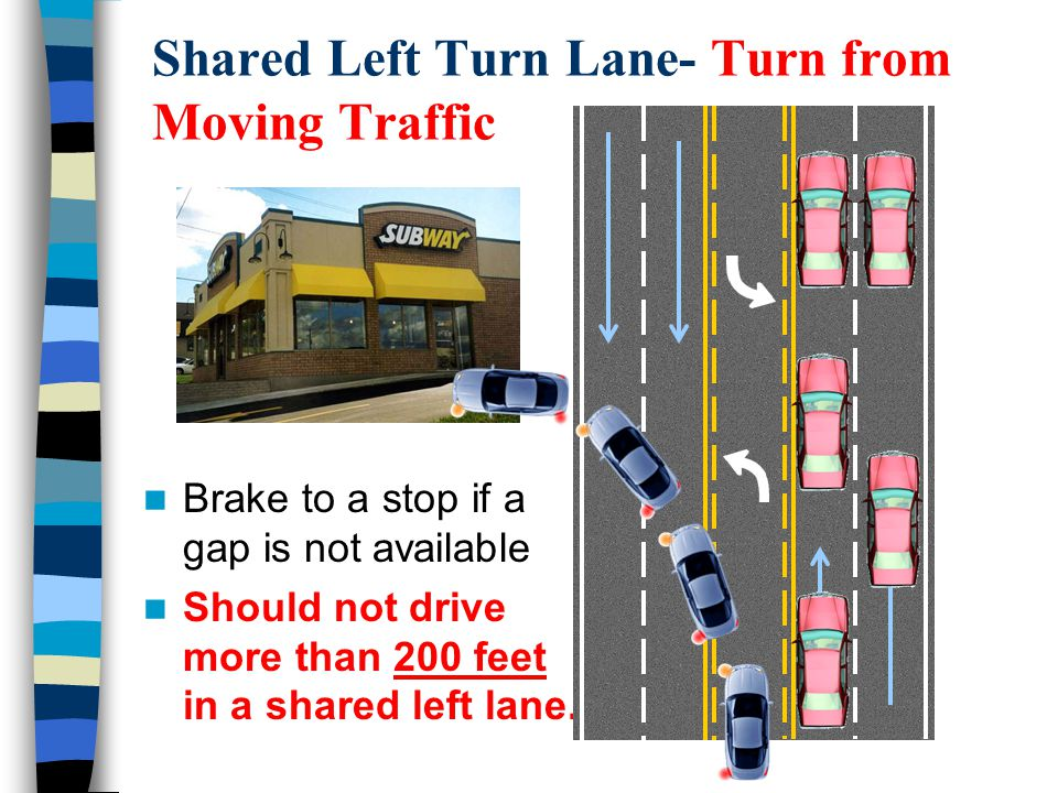 Brake to a stop if a gap is not available Should not drive more than 200 feet in a shared left lane. Shared Left Turn Lane- Turn from Moving Traffic