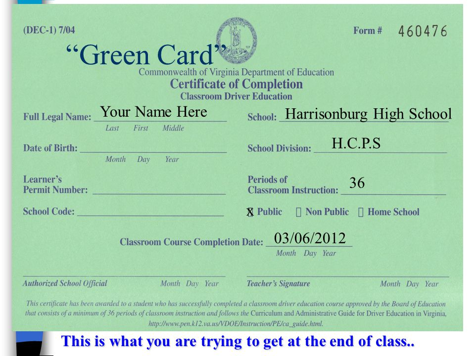 "This is what you are trying to get at the end of class.. Harrisonburg High School H.C.P.S 36 x 03/06/2012 Your Name Here ""Green Card"""