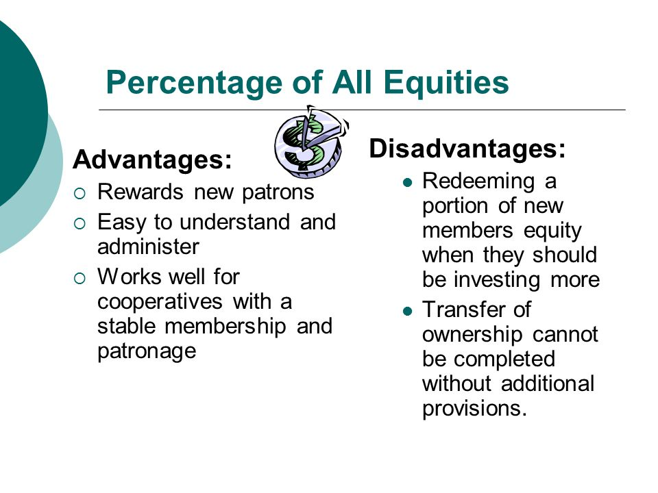 Percentage of All Equities Disadvantages: Redeeming a portion of new members equity when they should be investing more Transfer of ownership cannot be completed without additional provisions.