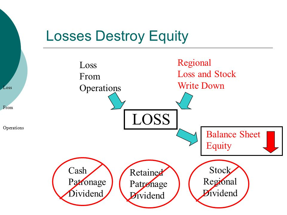 Losses Destroy Equity Loss From Operations Regional Loss and Stock Write Down LOSS Cash Patronage Dividend Balance Sheet Equity Loss From Operations Retained Patronage Dividend Stock Regional Dividend
