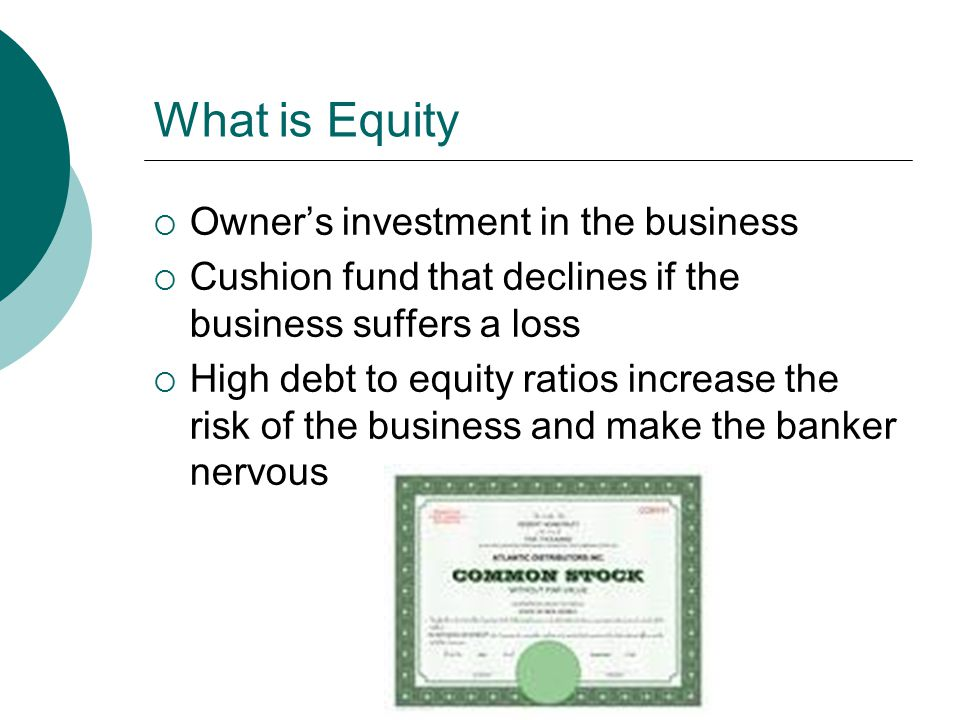 Equity in an Investor Owned Firm  In investor-owned firms the profits are distributed in proportion to the equity investment  Investors purchase equity with the anticipation of future returns  Investors may buy or sell their equity to other investors