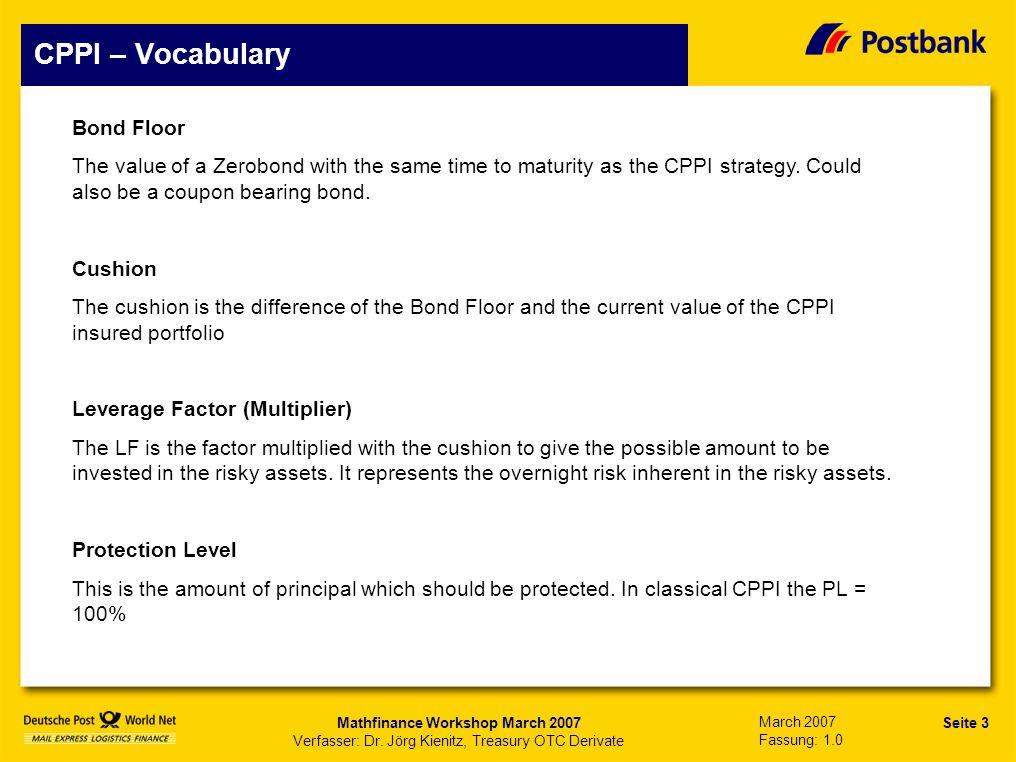 Seite 14 Präsentationstitel Mathfinance Workshop March 2007 Verfasser: Dr.