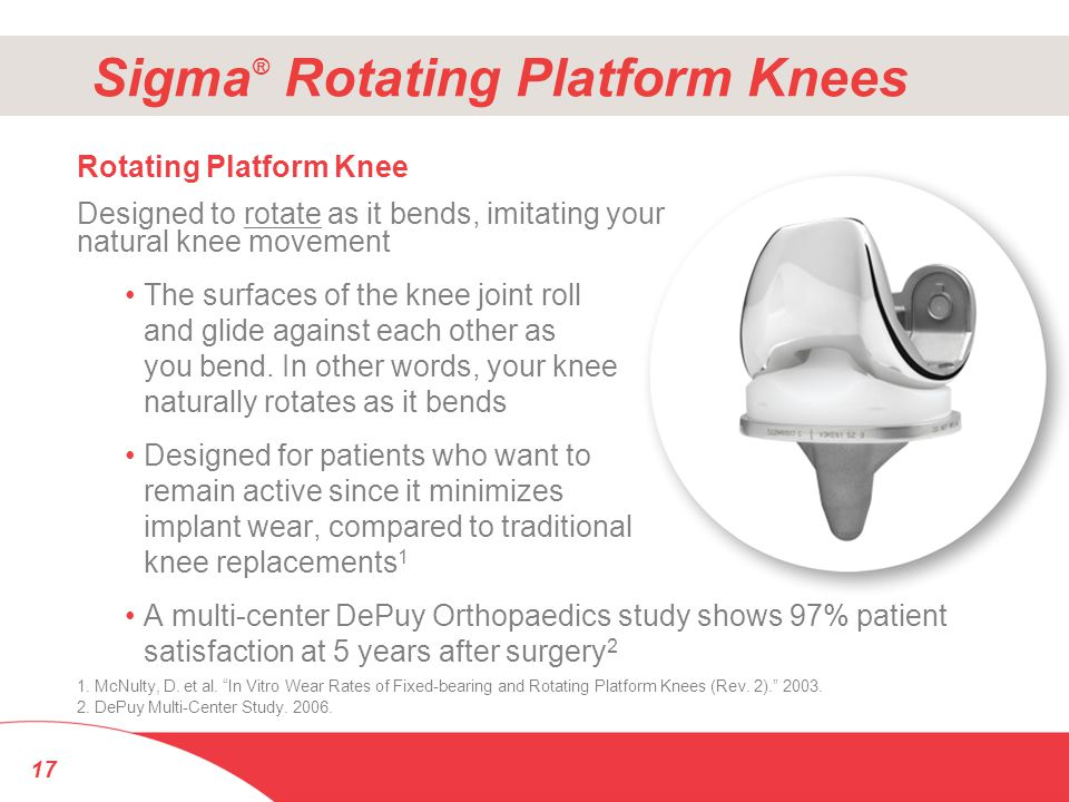 Sigma ® Rotating Platform Knees Rotating Platform Knee Designed to rotate as it bends, imitating your natural knee movement The surfaces of the knee j
