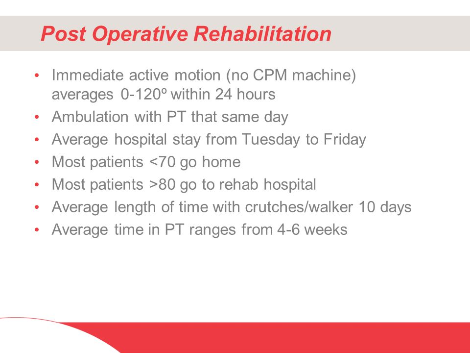 Post Operative Rehabilitation Immediate active motion (no CPM machine) averages 0-120º within 24 hours Ambulation with PT that same day Average hospit