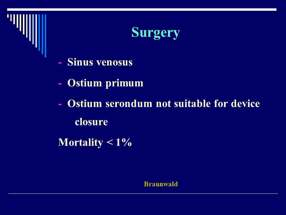 - Sinus venosus - Ostium primum - Ostium serondum not suitable for device closure Mortality < 1% Braunwald Surgery