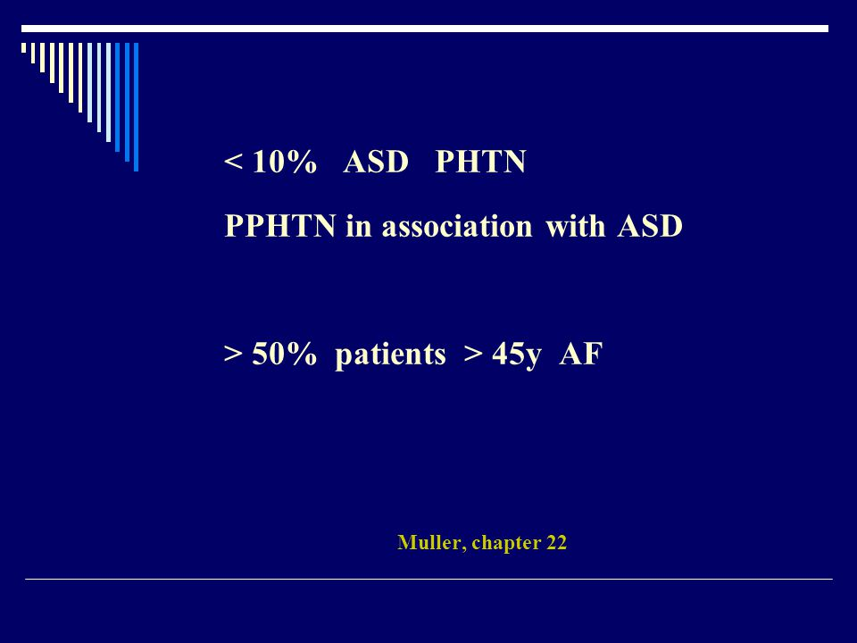 < 10% ASD PHTN PPHTN in association with ASD > 50% patients > 45y AF Muller, chapter 22