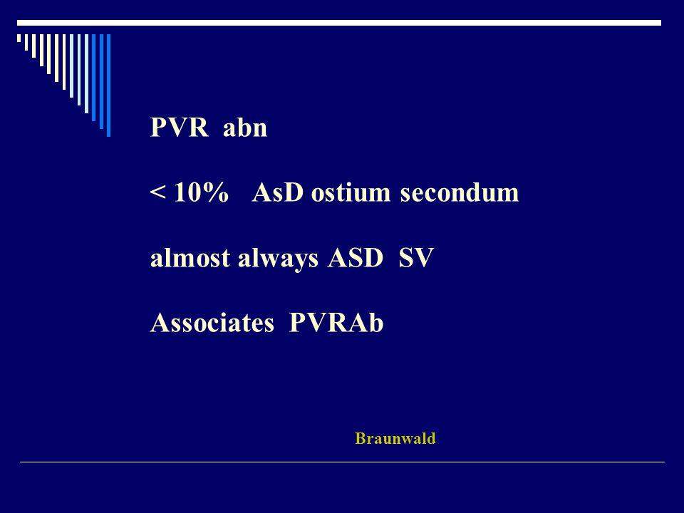 PVR abn < 10% AsD ostium secondum almost always ASD SV Associates PVRAb Braunwald