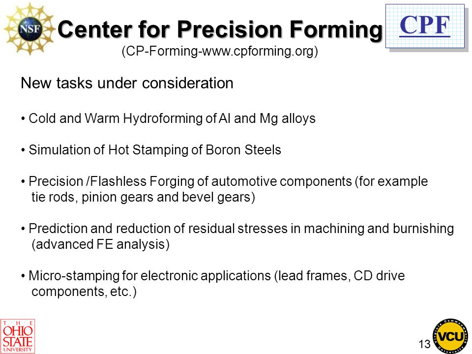 CPF New tasks under consideration Cold and Warm Hydroforming of Al and Mg alloys Simulation of Hot Stamping of Boron Steels Precision /Flashless Forgi