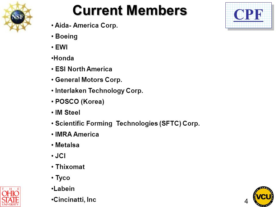 CPF Current Members Aida- America Corp. Boeing EWI Honda ESI North America General Motors Corp.