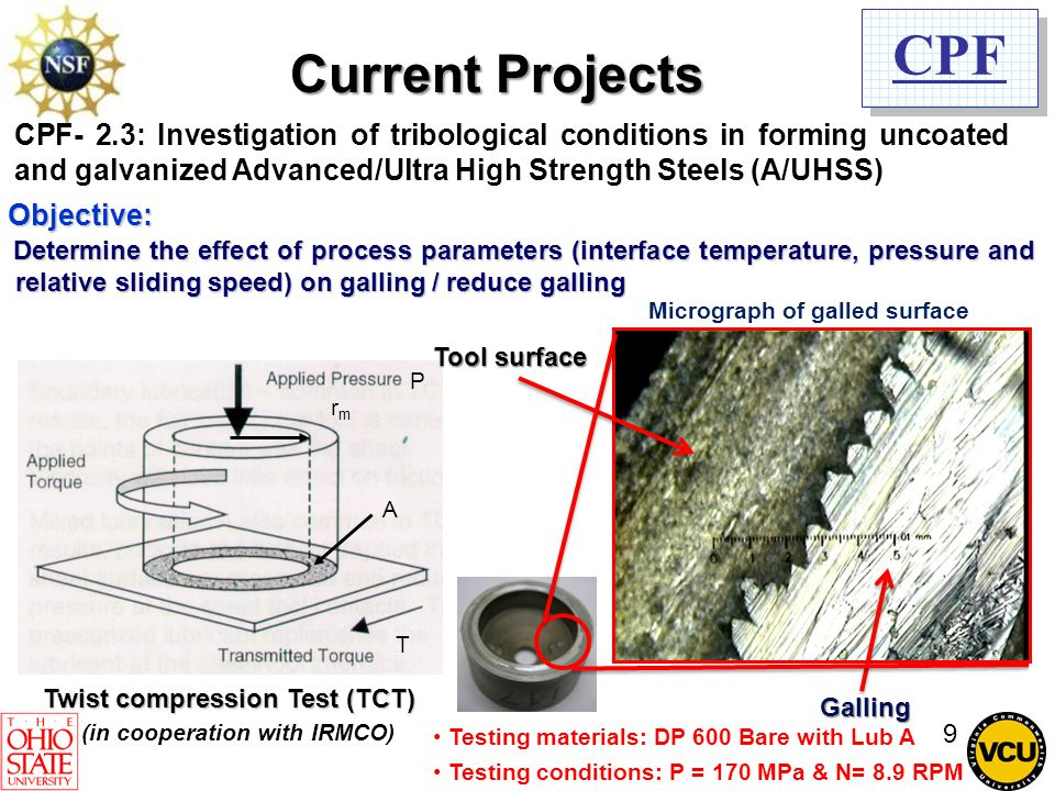 CPF CPF- 2.3: Investigation of tribological conditions in forming uncoated and galvanized Advanced/Ultra High Strength Steels (A/UHSS) Determine the e