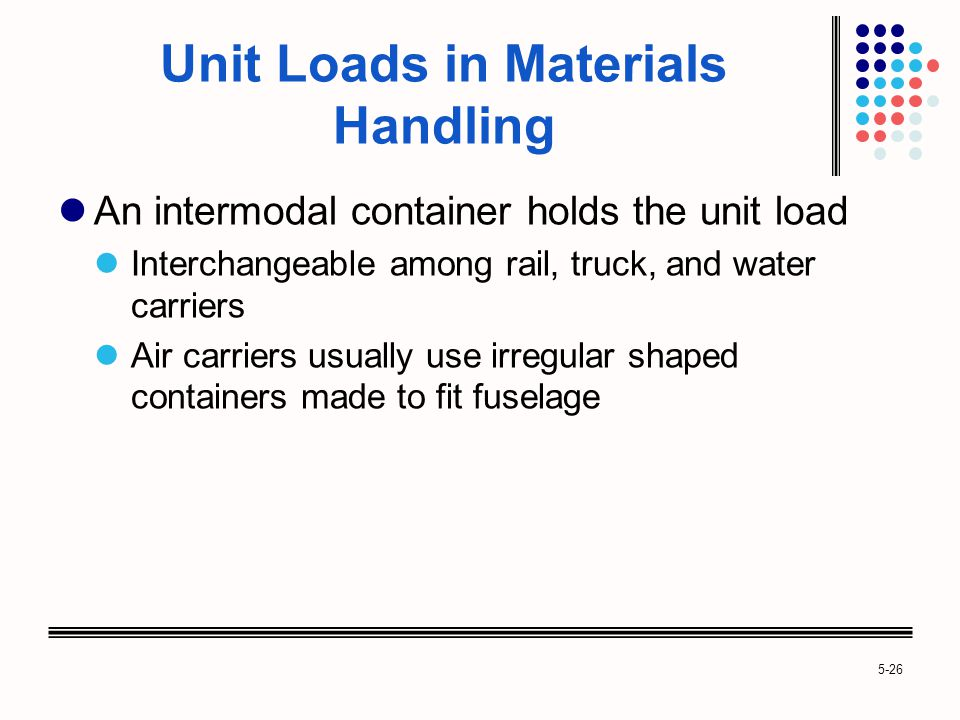 5-26 Unit Loads in Materials Handling An intermodal container holds the unit load Interchangeable among rail, truck, and water carriers Air carriers usually use irregular shaped containers made to fit fuselage