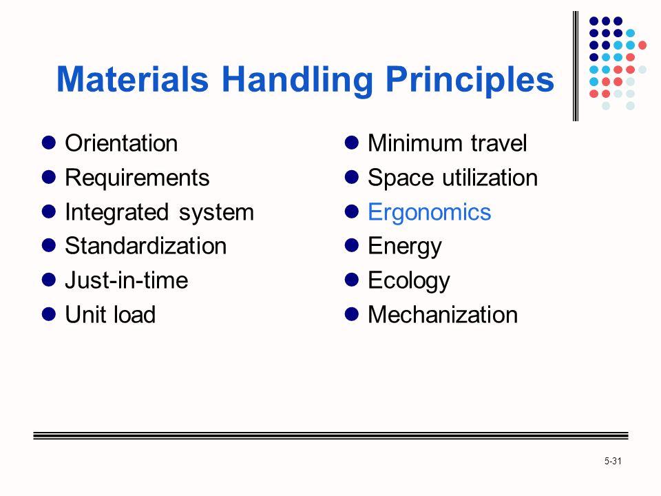 5-31 Materials Handling Principles Orientation Requirements Integrated system Standardization Just-in-time Unit load Minimum travel Space utilization Ergonomics Energy Ecology Mechanization