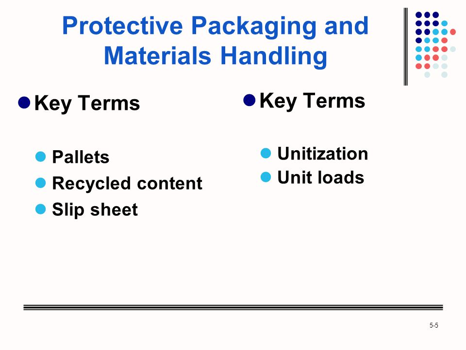 5-5 Protective Packaging and Materials Handling Key Terms Pallets Recycled content Slip sheet Key Terms Unitization Unit loads