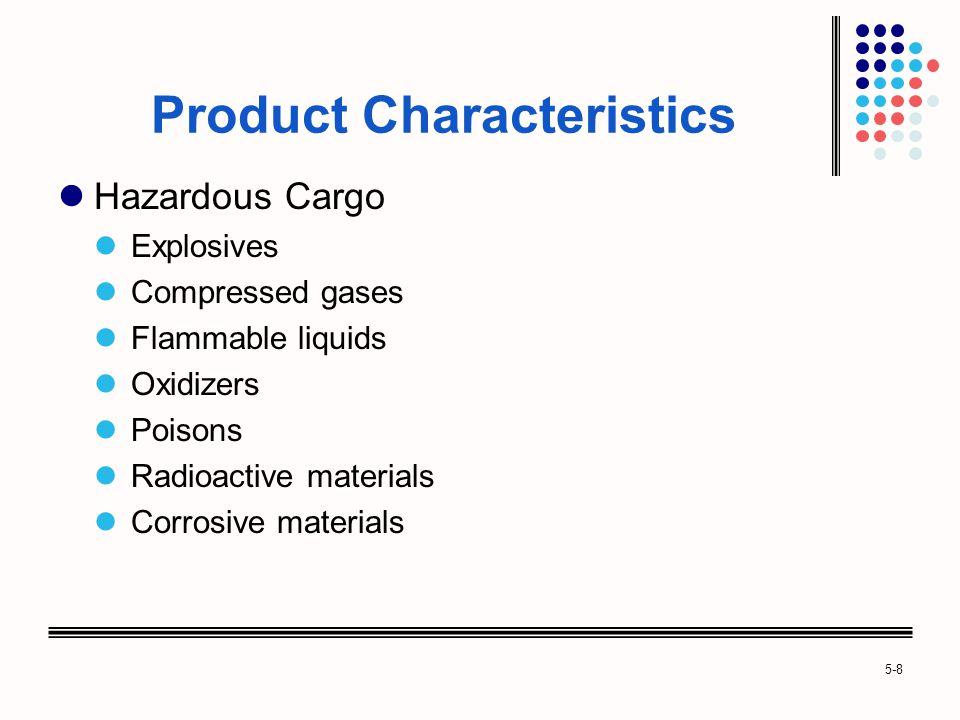 5-8 Product Characteristics Hazardous Cargo Explosives Compressed gases Flammable liquids Oxidizers Poisons Radioactive materials Corrosive materials