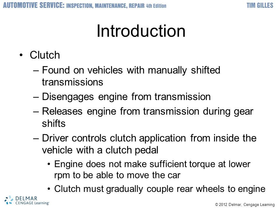 Dual Clutch Transmissions Being used by several manufacturers –Two clutches connect to two separate geartrains within one transmission housing