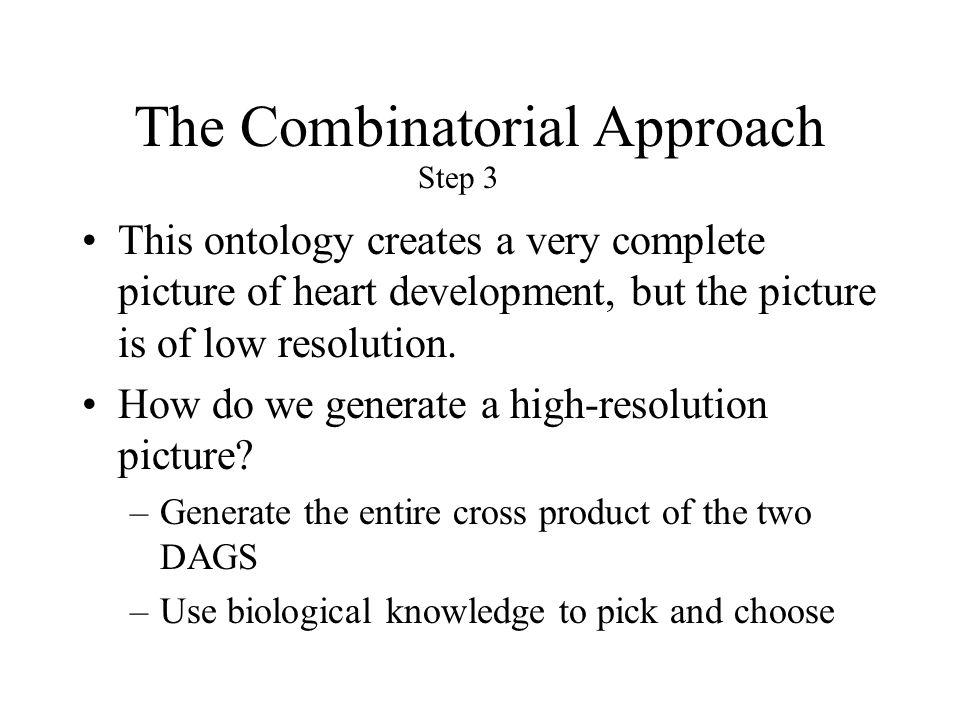The Combinatorial Approach This ontology creates a very complete picture of heart development, but the picture is of low resolution.