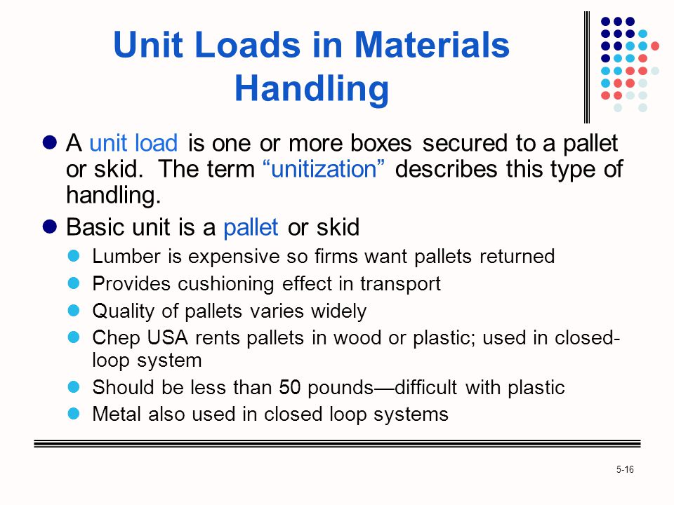 5-16 Unit Loads in Materials Handling A unit load is one or more boxes secured to a pallet or skid.
