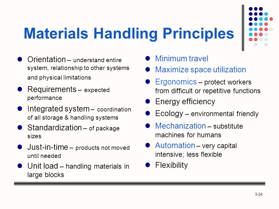 5-24 Materials Handling Principles Orientation – understand entire system, relationship to other systems and physical limitations Requirements – expected performance Integrated system – coordination of all storage & handling systems Standardization – of package sizes Just-in-time – products not moved until needed Unit load – handling materials in large blocks Minimum travel Maximize space utilization Ergonomics – protect workers from difficult or repetitive functions Energy efficiency Ecology – environmental friendly Mechanization – substitute machines for humans Automation – very capital intensive; less flexible Flexibility