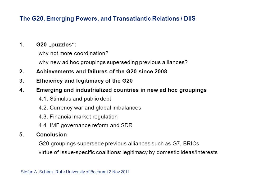 The G20, Emerging Powers, and Transatlantic Relations / DIIS 1.