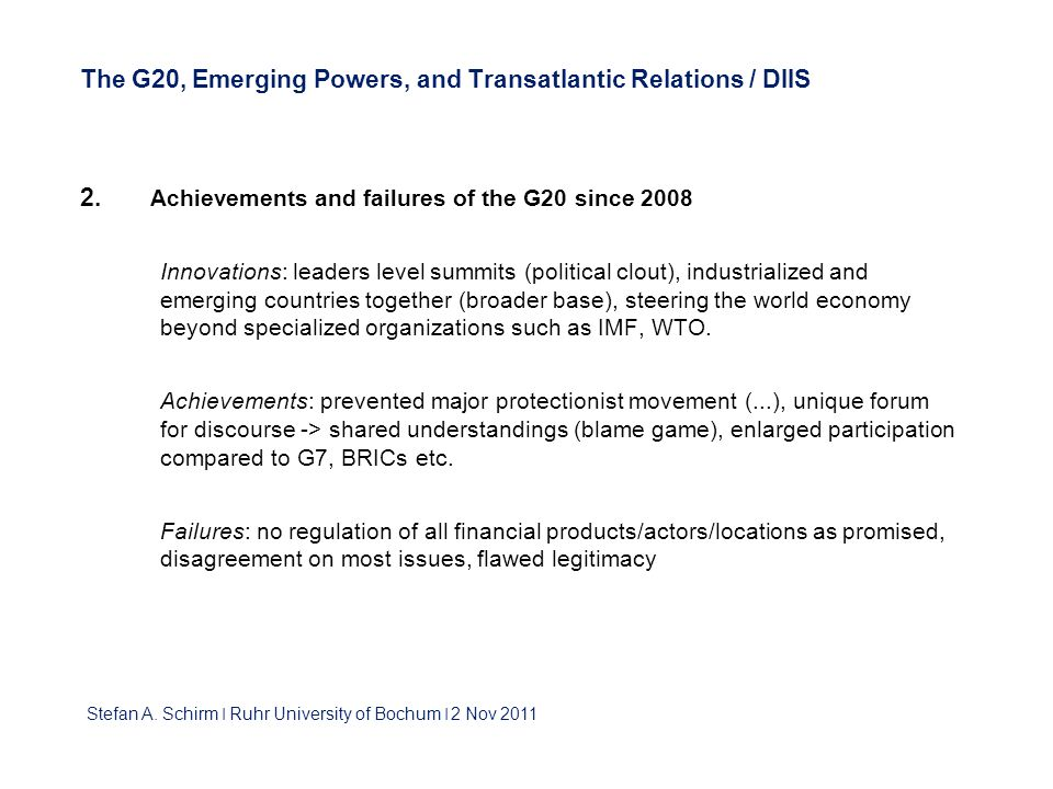 The G20, Emerging Powers, and Transatlantic Relations / DIIS 2.