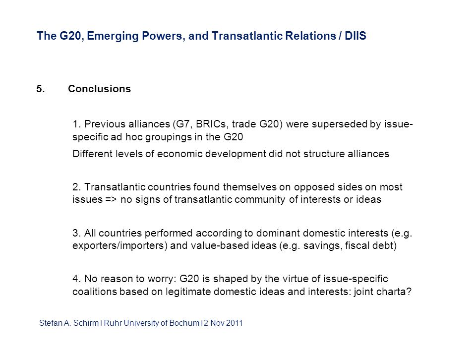 The G20, Emerging Powers, and Transatlantic Relations / DIIS 5.