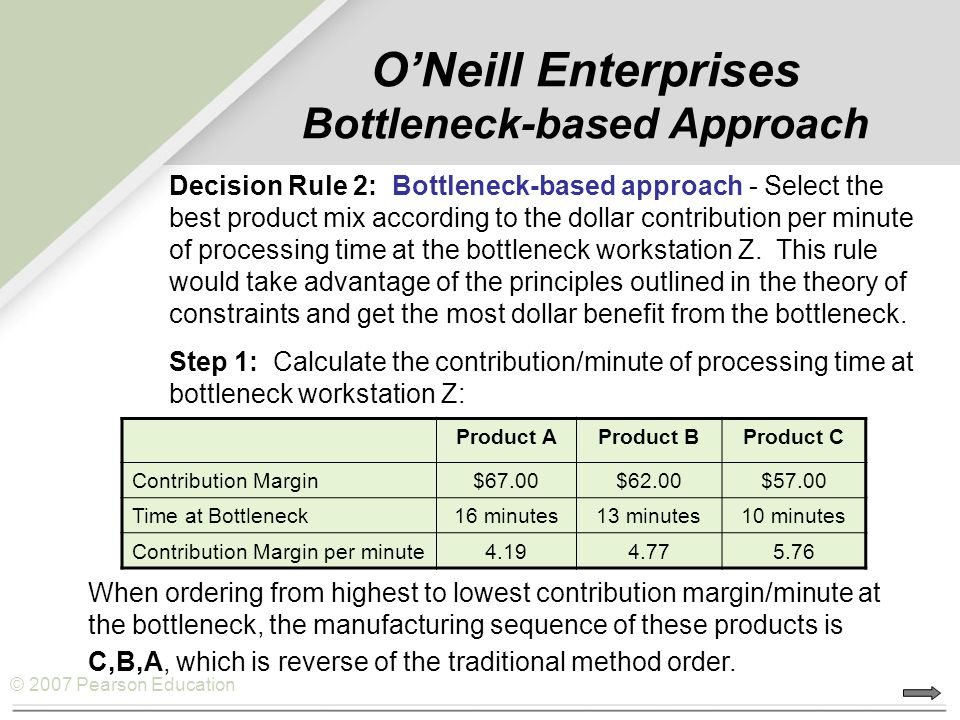 © 2007 Pearson Education O'Neill Enterprises Bottleneck-based Approach Decision Rule 2: Bottleneck-based approach - Select the best product mix accord