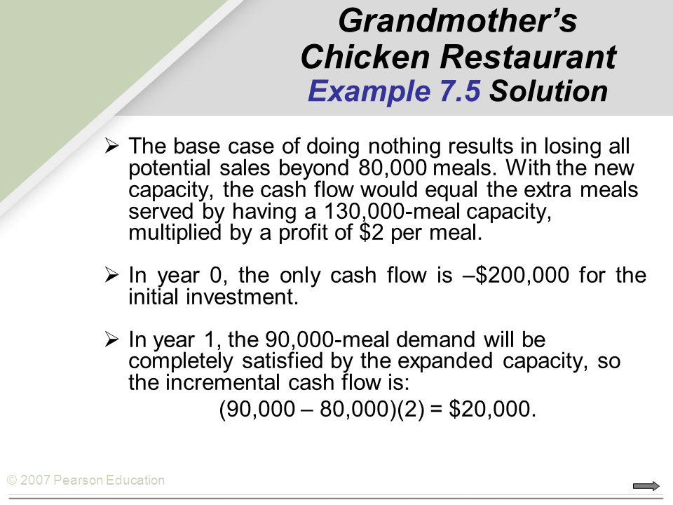 © 2007 Pearson Education Grandmother's Chicken Restaurant Example 7.5 Solution  The base case of doing nothing results in losing all potential sales
