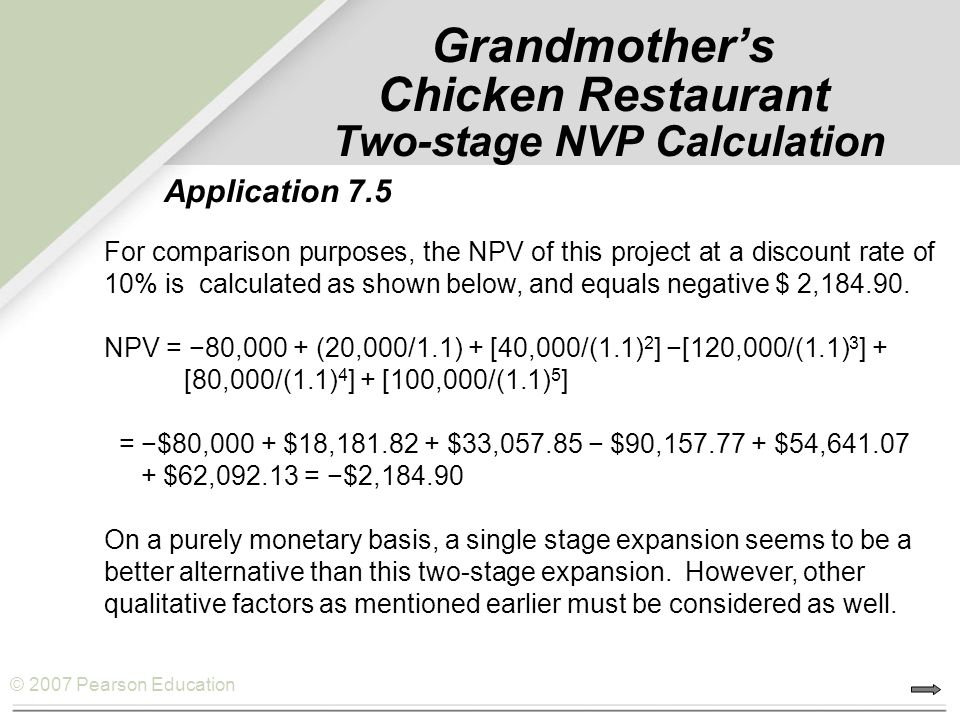 © 2007 Pearson Education Grandmother's Chicken Restaurant Two-stage NVP Calculation For comparison purposes, the NPV of this project at a discount rat
