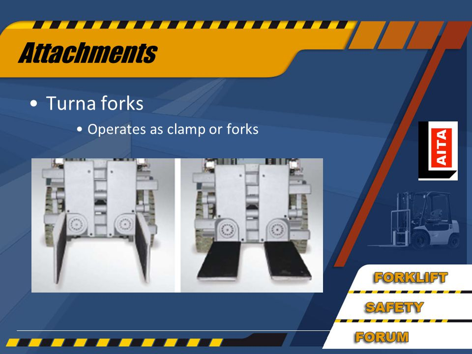 Attachments Turna forks Operates as clamp or forks