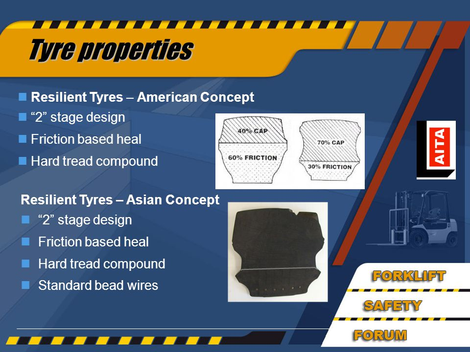 37 Resilient Tyres – Asian Concept n 2 stage design nFriction based heal nHard tread compound nStandard bead wires Tyre properties Tyre properties n Resilient Tyres – American Concept n 2 stage design n Friction based heal n Hard tread compound