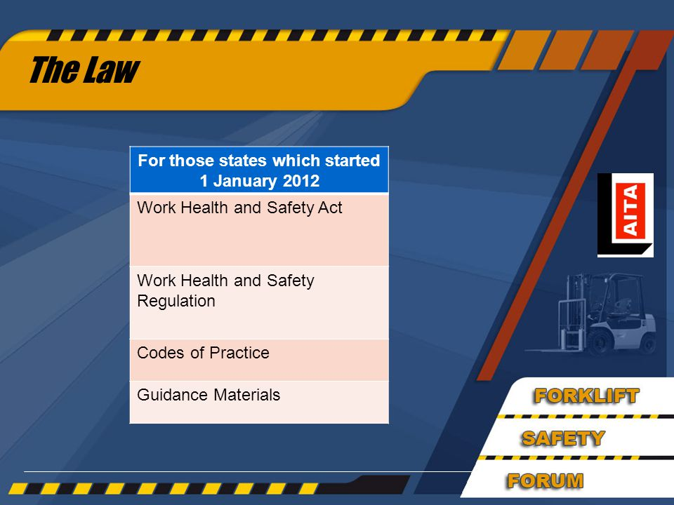 The Law For those states which started 1 January 2012 Work Health and Safety Act Work Health and Safety Regulation Codes of Practice Guidance Materials