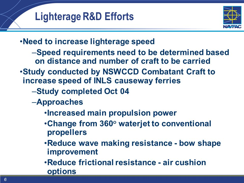 6 Lighterage R&D Efforts Need to increase lighterage speed –Speed requirements need to be determined based on distance and number of craft to be carried Study conducted by NSWCCD Combatant Craft to increase speed of INLS causeway ferries –Study completed Oct 04 –Approaches Increased main propulsion power Change from 360 o waterjet to conventional propellers Reduce wave making resistance - bow shape improvement Reduce frictional resistance - air cushion options