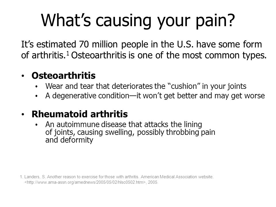What's causing your pain. It's estimated 70 million people in the U.S.