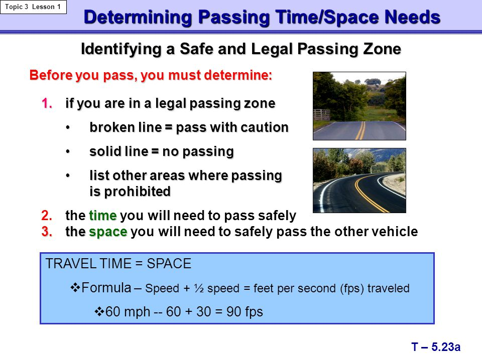 Identifying a Safe and Legal Passing Zone Determining Passing Time/Space Needs Determining Passing Time/Space Needs Topic 3 Lesson 1 T – 5.23a time 2.