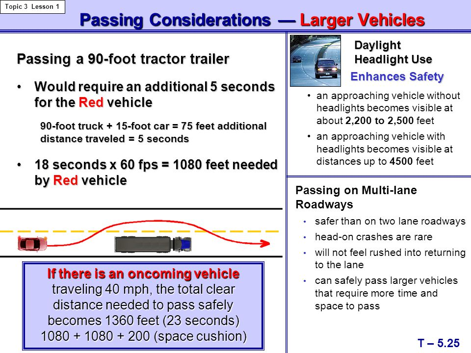 Passing Considerations — Larger Vehicles Passing Considerations — Larger Vehicles T – 5.25 Topic 3 Lesson 1 Passing a 90-foot tractor trailer Would re