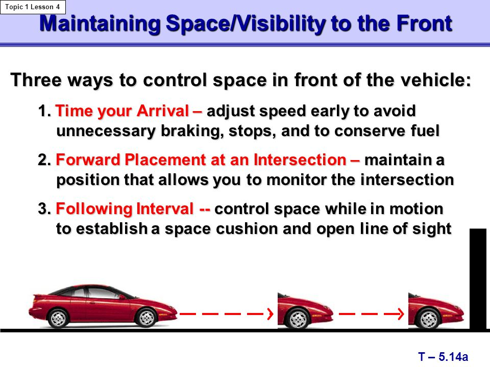 Maintaining Space/Visibility to the Front T – 5.14a Topic 1 Lesson 4 Three ways to control space in front of the vehicle: Three ways to control space