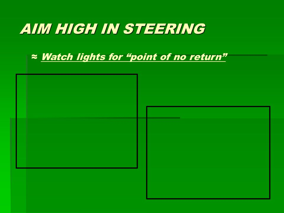 "AIM HIGH IN STEERING ≈ Watch lights for ""point of no return"""