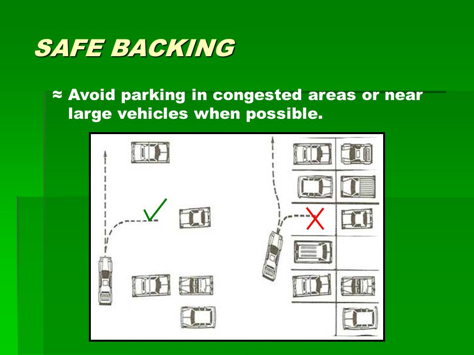 SAFE BACKING ≈ Avoid parking in congested areas or near large vehicles when possible.