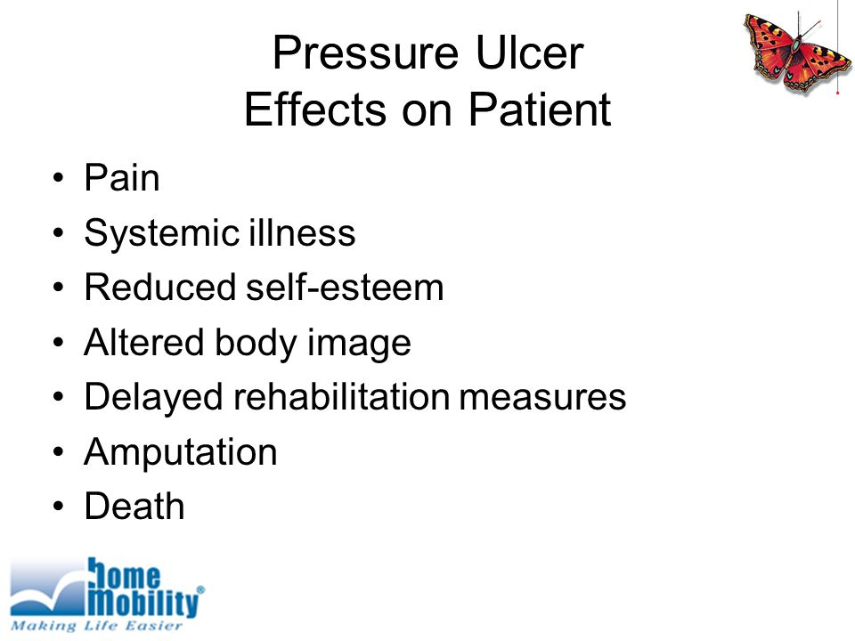 Pressure Ulcer Effects on Patient Pain Systemic illness Reduced self-esteem Altered body image Delayed rehabilitation measures Amputation Death